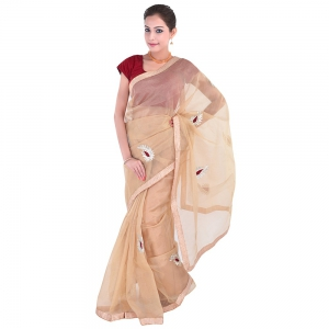 Allover Velvet Shimmer Gota Patchwork Fancy Cream Color Supernet Sari DLI5SRJ302