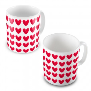 Beautiful Cute Hearts Printed Designer Delightful Coffee Mugs Pair DL52MUG503