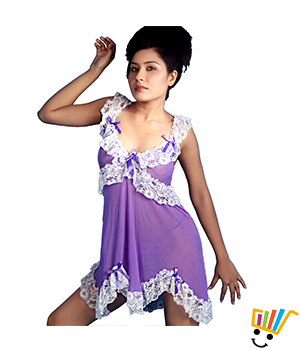 Hot Mauve Imported Net Middy Nightwear Nighty Women Apparel DLI3LNG366