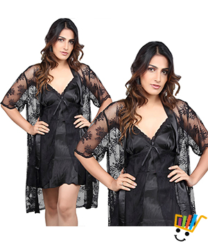 Black Fish Net 3-Piece Nightwear Sleep Wear Black Sleepwear DLI3NTW525