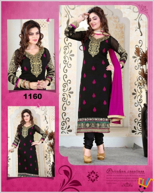 Designer Black Semi Stitched Chudidar Suit VF-1160