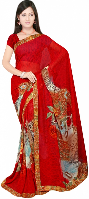SIXMETER Casual Red Georgette Saree 10446036