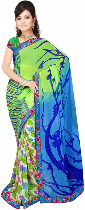 SIXMETER Casual Green Georgette Saree 10446041