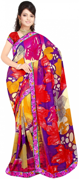 SIXMETER Casual Multi Georgette Saree 10446045