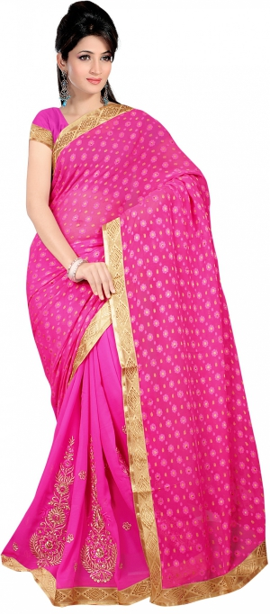 SIXMETER Casual Pink Georgette Saree 10446058