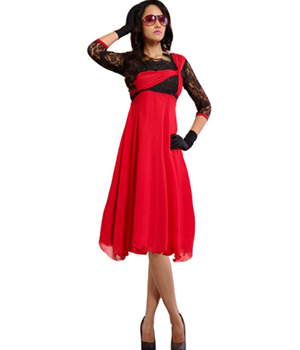 SIXMETER Red Georgette Casual kurti FT-WES-1026