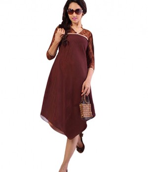 SIXMETER Brown Georgette Casual kurti FT-WES-1027