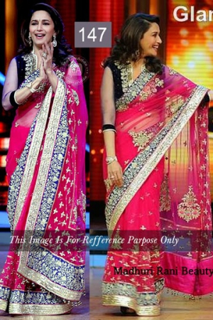 Riwaz Collection Madhuri Dixit Pink Blue Bollywood Saree RWZC-147
