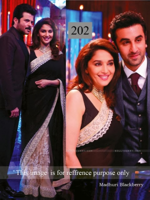 Riwaz Collection Madhuri Dixit Black Beige Bollywood Saree RWZC-202