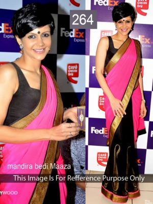 Riwaz Collection Mandira Bedi Black Pink Bollywood Saree RWZC-264