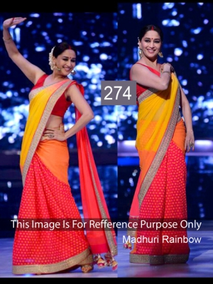 Riwaz Collection Madhuri Dixit Red Yellow Bollywood Saree RWZC-274