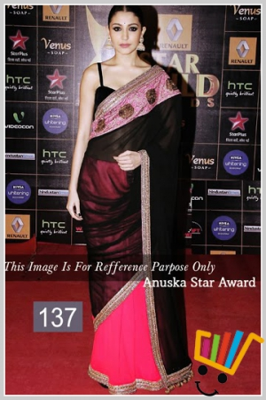 Indian Party Wear Bollywood Replica Anushka Sharma Black And Pink Moss Fabric Saree MSM-137
