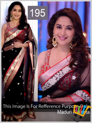 Bollywood Replica Madhuri Dixit Net Saree In Black Colour MSM-195