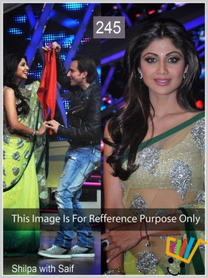 Indian Partywear Bollywood Replica Shilpa Shetty Green And Yellow Net Saree MSM-245