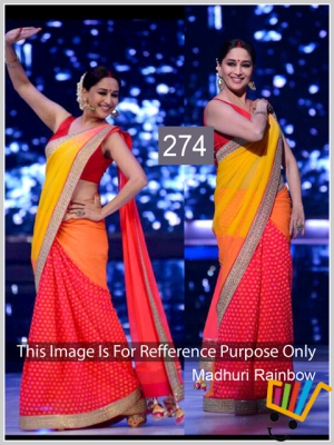 Indian Fency Bollywood Replica Madhuri Dixit Red And Yellow Crape Silk With Viscose Butti Saree MSM-274