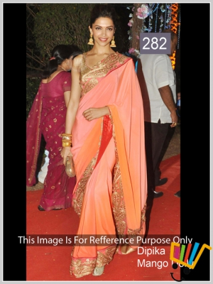 Indian Fency Bollywood Replica Dipika Padukone Pink And Orange Padding Crape Silk Saree MSM-282