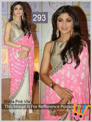 Bollywood Replica Shilpa Shetty Pink And White Chiffon Georgette Saree MSM-293