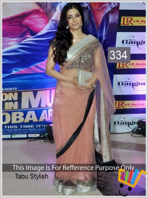 Bollywood Replica Tabu Net Saree In Peach Colour MSM-334
