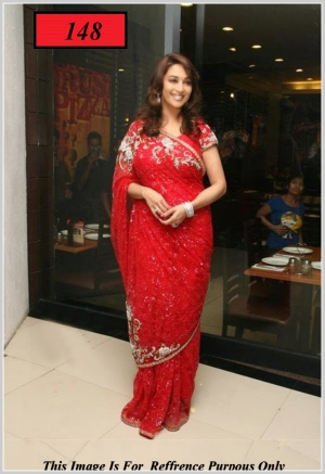 Madhuri Dixit Look Gorgeous In Red Bollywood Replica Sarees VF-148