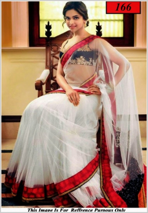 Deepika Padukon White Bollywood Replica Saree VF-166