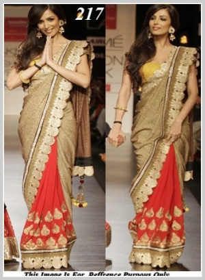 Malaika Arora Style Bollywood Golden Saree At Lakme Fashion Week VF-217