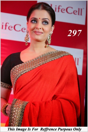 Gorgeous Actress Aishwarya Rai In Bright Red Embroidery Work Saree She Was In Chennai Earlier Today To Attend A Life Cell Event - VF-297