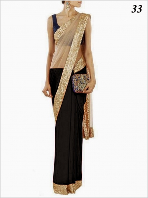 Black Net Saree With Sequins Border VF-33