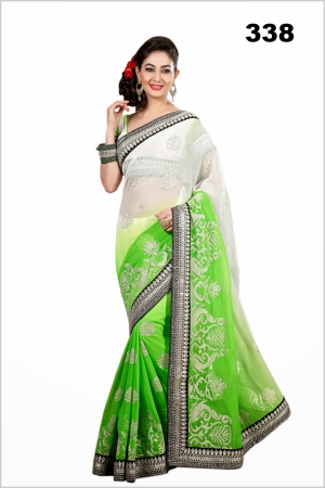 Bollywood Designer White And Green Saree VF-338