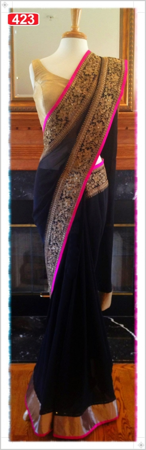 Bollywood Designer Black Gorgette Fabrics Saree VF-423