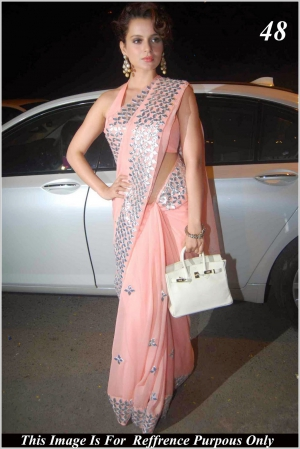 Kangana Ranaut Designer Peach Bollywood Replica Saree VF-48
