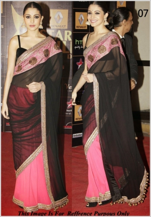 Anushka Sharma Black And Pink Georgette Saree At Star Gold Awards VF-07
