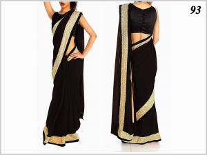 Designer Black Georgette Fabrics Saree VF-93
