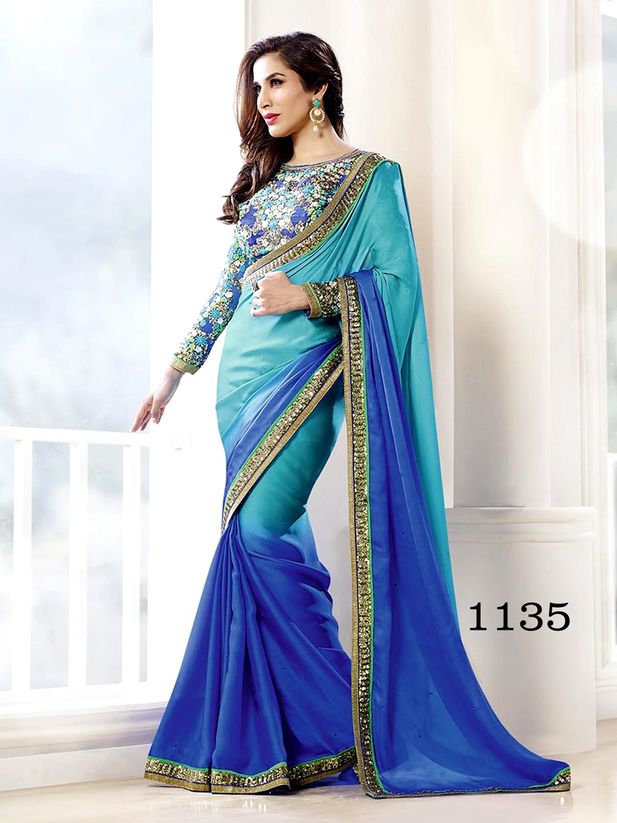 Ethnic Trend Satin Chiffon Peding Gerogette Saree With Thread Work Sequence Work And Hand Work ET-1135