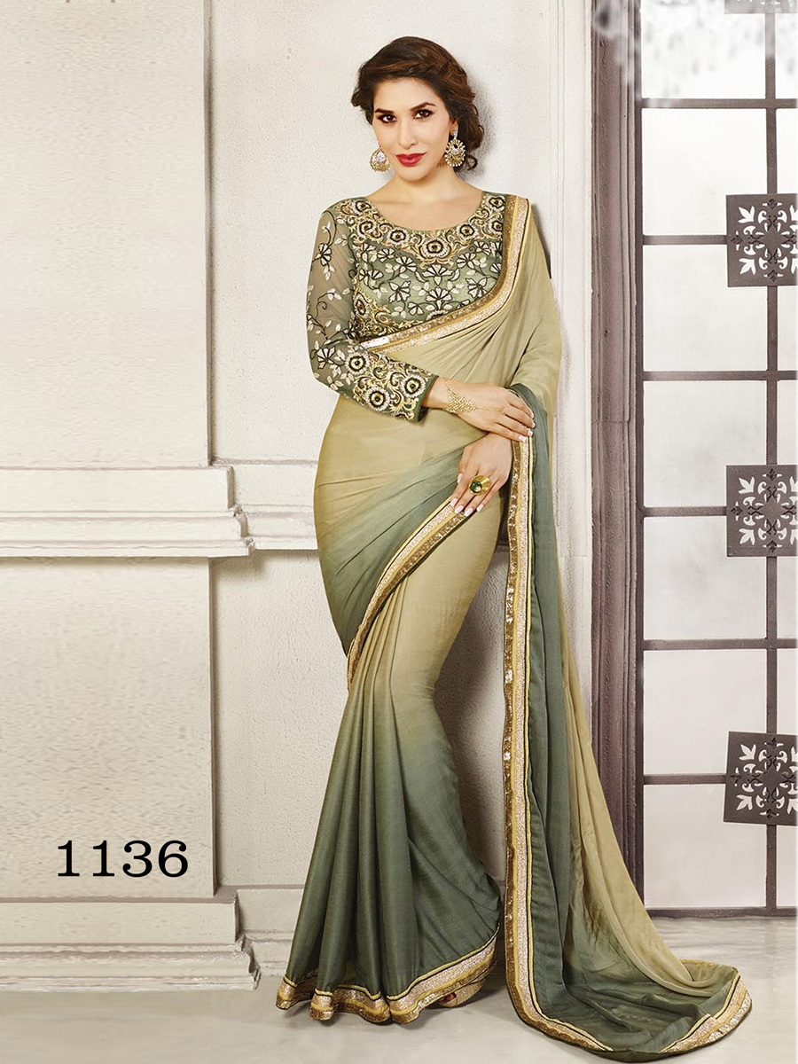 Ethnic Trend Zig Zag Jaquard Georgette Saree With Thread Work Sequence Work And Hand Work ET-1136