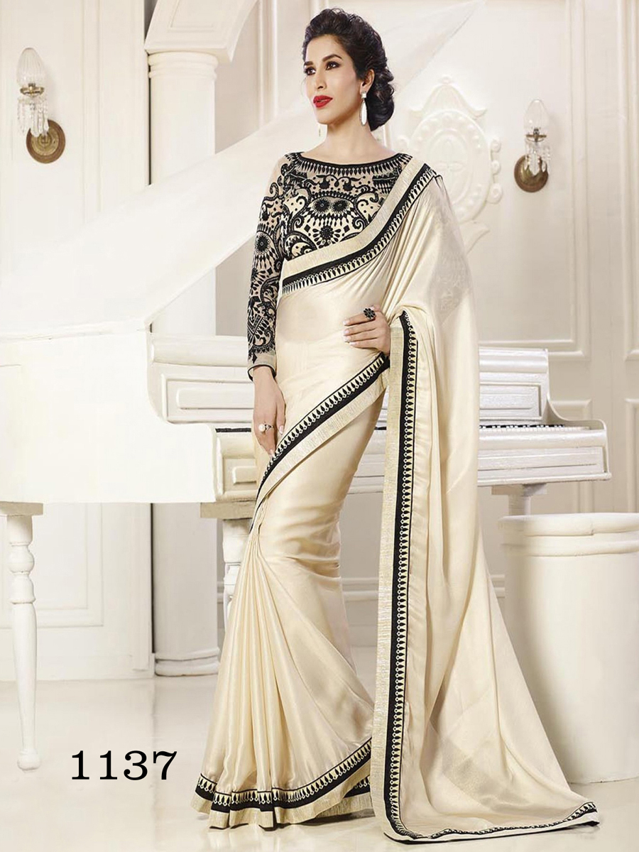 Ethnic Trend Satin Kivi Coating Georgette Saree With Thread Work Sequence Work And Hand Work ET-1137