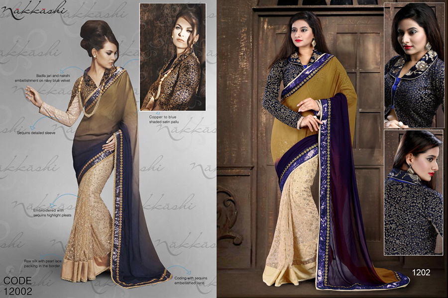 Ethnic Trend Classy Beige Georgette Pallu With Pure Net Skirt With Multi Sequence Work ET-1202