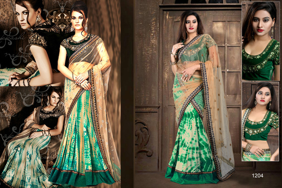 Ethnic Trend Scenic Green Pure Net Pallu With Georgette Skirt With Multi Sequence Work On Saree ET-1204