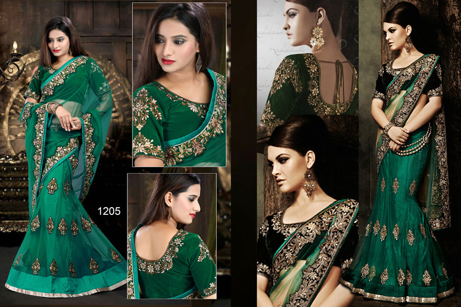 Ethnic Trend Alluring Green Pure Net Pallu With Pure Net Skirt With Multi Sequence Work  ET-1205