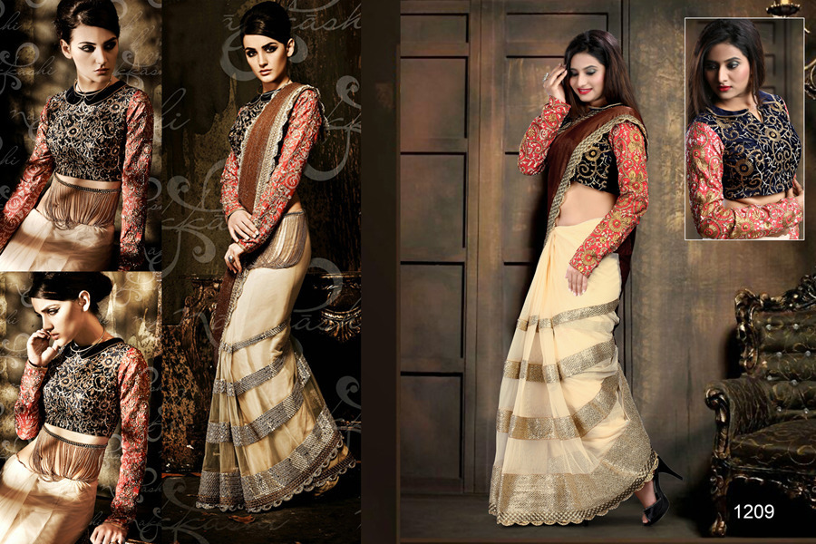 Ethnic Trend Gorgeous Beige Net Pallu With Soft Pure Net Skirt With Heavy Embroidary Work On Saree  ET-1209