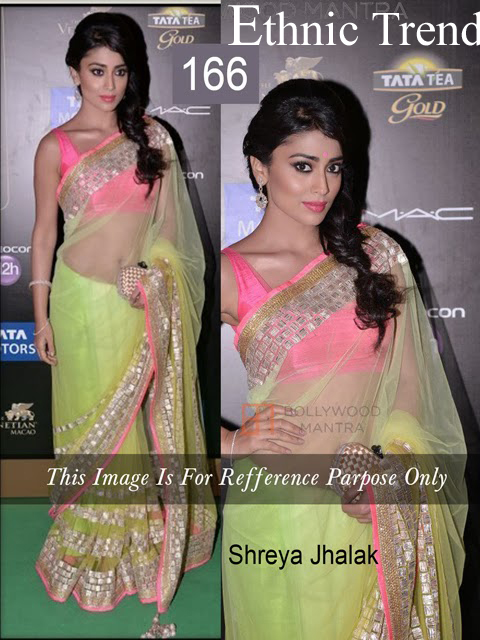 Stunning Shreya Saran Light Green Bollywood Replica Net Saree  ET-166