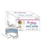 AMKAY Face Mask 3 ply Tie - Lace Color Blue Bulk Box 100 Pcs Per Box AM010