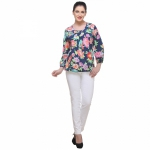 Varanga Blossoms Navy Blue Top KFAWWL1002