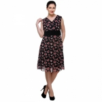 Varanga Black Print Rose Dress KFAWWL1010