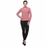 Varanga Solid Peach Shirt With Zipper Pocket KFAWWL1021