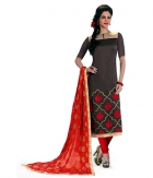 A G Lifestyle Grey Banarsi Chanderi Jacquared Dress Material with Dupatta LBS1023