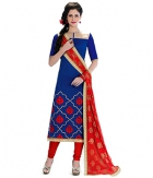 A G Lifestyle Blue Banarsi Chanderi Jacquared Dress Material with Dupatta LBS1024
