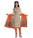 A G Lifestyle Beige Banarsi Chanderi Jacquared Dress Material with Dupatta LBS1025