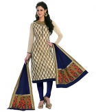 A G Lifestyle Beige Banarsi Chanderi Jacquared Dress Material with Dupatta LBS1026