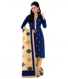 A G Lifestyle Blue Banarsi Chanderi Jacquared Dress Material with Dupatta LBS1028