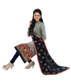A G Lifestyle Grey Banarsi Chanderi Jacquared Dress Material with Dupatta LBS1029